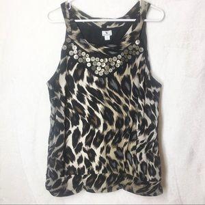 Worthington  Leopard Print Blouse/Tank Pleated XL